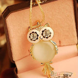 Mamir's Express - Alloy Rhinestone Statement Snowflake Shape Eye Owl Pendant Necklace