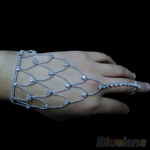 Mamir's Express - Bridal Wedding Crystal Jewelry Hand Harness Bracelet Finger Cuff Bracelets