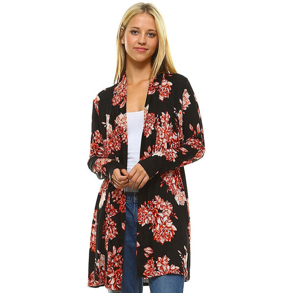 Bohemian Floral Printed Kimono Cardigan For Ladies Long Sleeve