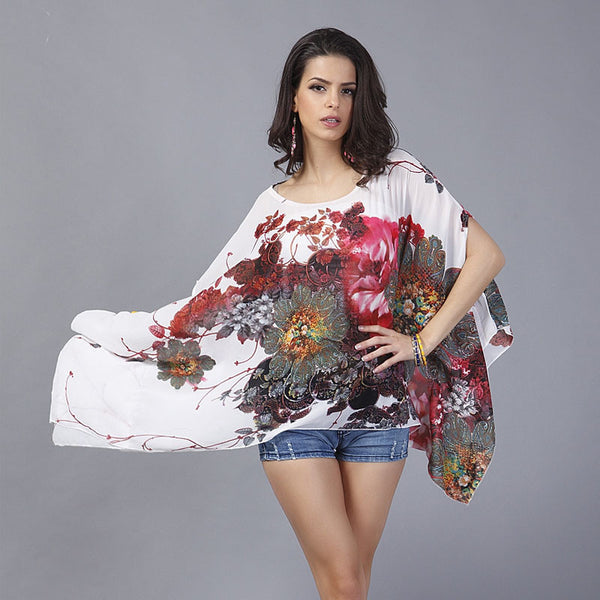 2eaf3734e1d01 ... Mamir s Express - Batwing Sleeve Chiffon Blouse Women Casual Floral  Print Loose Kimono ...