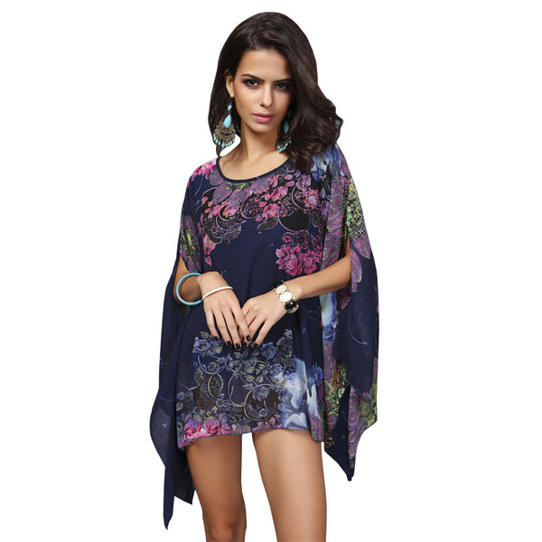 Mamir's Express - Batwing Sleeve Chiffon Blouse Women Casual Floral Print Loose Kimono