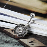 Mamir's Express - Cubic Ziconia Flower Belly Button Ring Women Body Jewelry Silver Plated