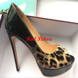 Mamir's Express - Open Toe High Heels Platform Shoes Patent Leather Pumps