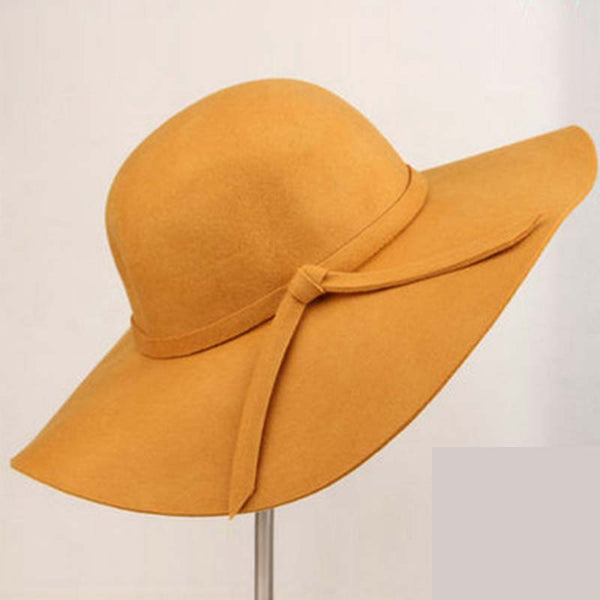 Fedoras for Women Vintage Wide Brim Woolen Cap Sun Hat with Bow-knot
