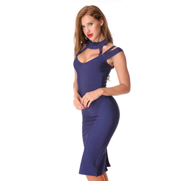 Sexy Halter Bandage Dress Evening Party Hollow Out Bodycon Dress