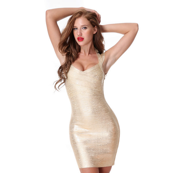 dd3d91cf7116 Sexy Bandage Dress V-neck Bodycon Gold Sleeveless Club Wear