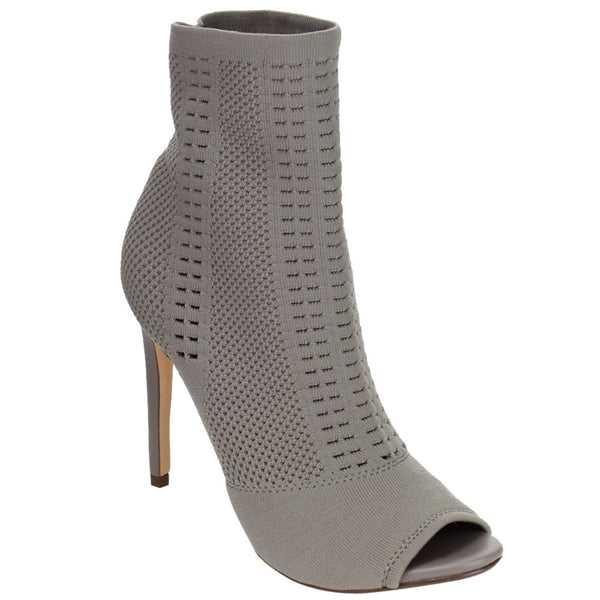 Mamir's Express - Knitted Peep Toe Stiletto Ankle Boots Heels