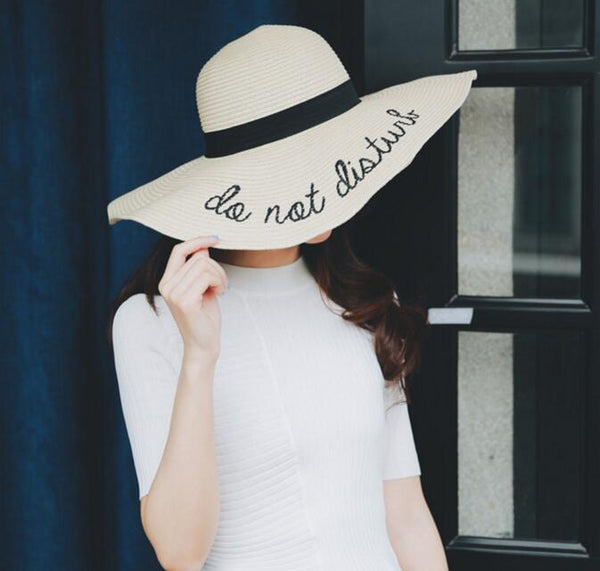 ... Mamir s Express - Do Not Disturb Letter Wide Brim Summer Sun Hats for  Women Beach Straw ... e059906fc1c