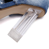 Mamir's Express - Ladies Over The Knee Thigh High Denim Boots Open Toe Transparent Block Thick High Heel