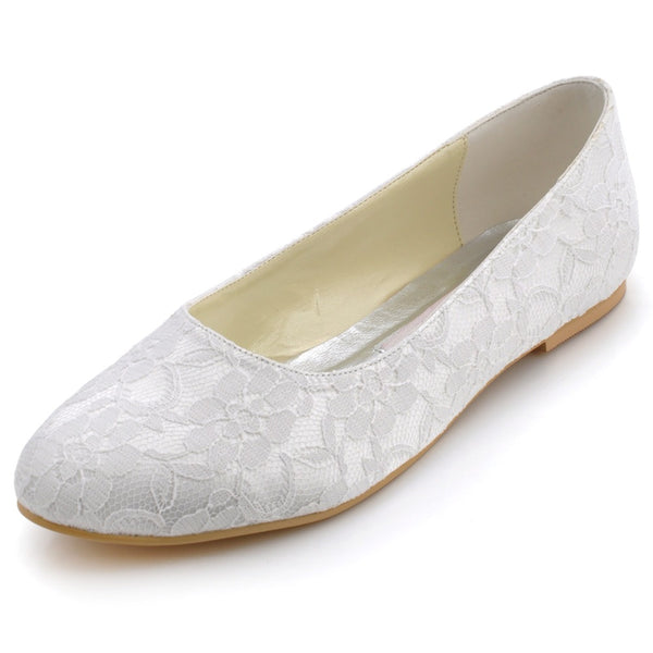 Mamir's Express - Elegant White Ivory Women Shoes Bridal Party Flats Satin Lace Shoes