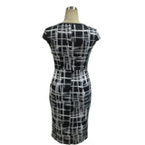 Mamir's Express - Ladies Bodycon Bandage Round Neck Short Sleeve Knee Length Dress