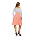 Mamir's Express - A-Line Midi Skirt Flare High Waist Casual Office Ladies Skirts