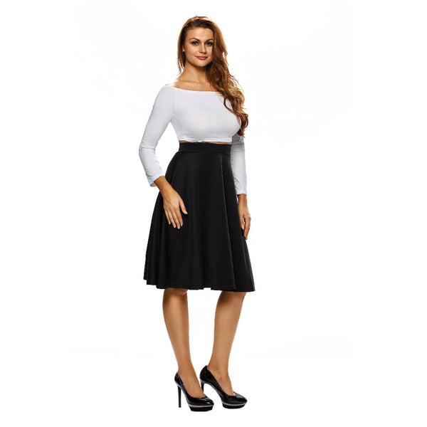 A-Line Midi Skirt Flare High Waist Casual Office Ladies Skirts