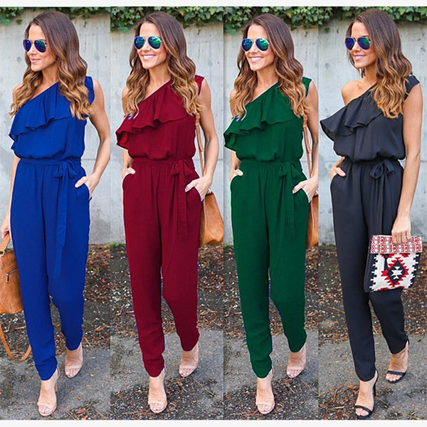 Jumpsuits Ruffle One Shoulder Chiffon Bandage Casual Ladies Rompers 7ae29a3a1
