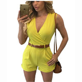 Sexy V Neck Sleeveless Packets With Belt  Playsuits Romper Jumpsuit