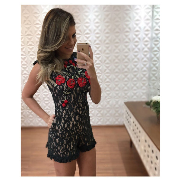 e3e9f15bfaae Women Sexy Backless Floral Embroidery Lace Short Jumpsuit Romper
