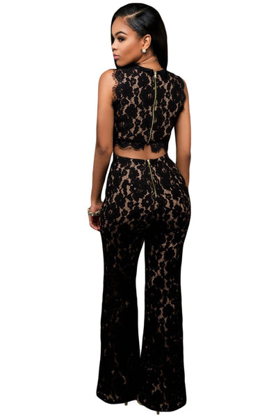 Sexy Black Lace Nude Illusion Back Cutout Jumpsuit Rompers d1a1bc8a5