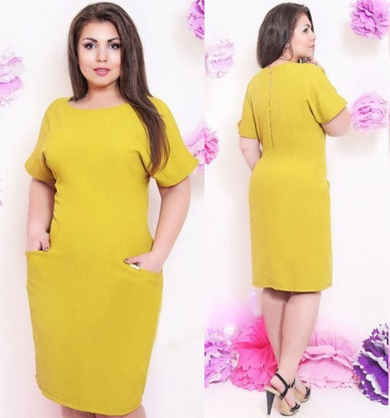 Mamir's Express - Elegant ladies fashion big size dress XL-4XL simple design women wear to work casual party dresses
