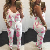 Two Pieces Set Sexy Spaghetti Strap Pocket Long Rompers Print