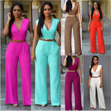 Sleeveless Maxi Overalls Belted Wide Leg Jumpsuit Rompers