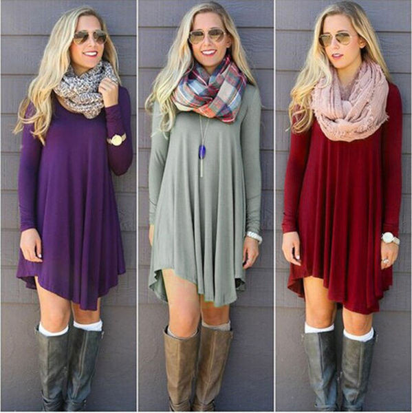 Fashion Clothes vestidos Women 2016 Autumn Winter Dress Female Cotton O-neck Long Sleeve Mini Woolen Dresses