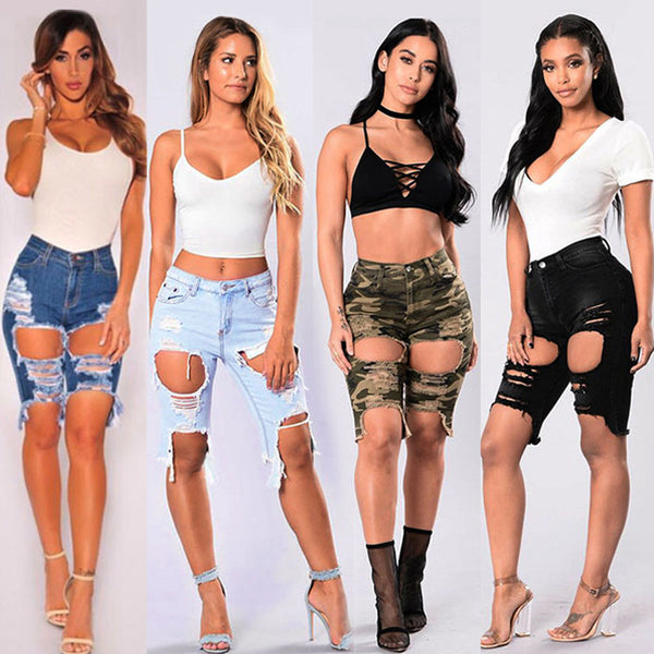 40a82cbe8b Sexy Ripped Denim Jeans Shorts