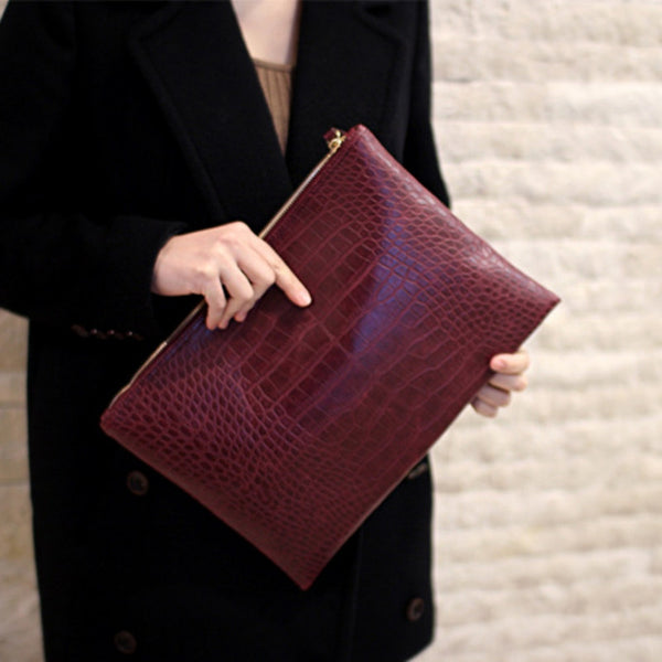 Mamir's Express - Crocodile women's clutch bag leather envelope bag