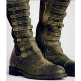 Mamir's Express - Faux Suede Gladiator Retro Army Boots Over The Knee For Women