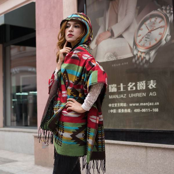Fringe Ethnic Geometric Cardigan Sweater winter Hooded Outwear Wool Blend Ethnic style print Blanket Cloak Women's Poncho Cape