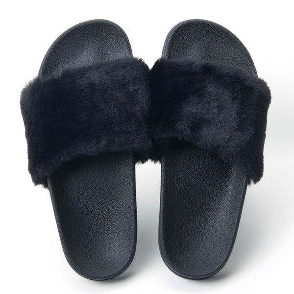 Mamir's Express - Fur Slides Slippers Flip Flops Shoes Women