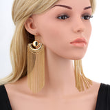 Mamir's Express - Chain Tassel Drop Dangle Long Earrings For Women