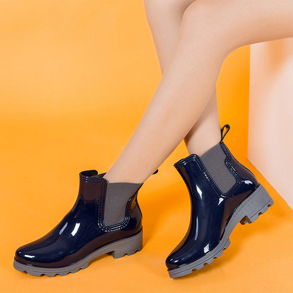 Mamir's Express - Ladies Platform Rain Boots Ankle Boots Low Heels