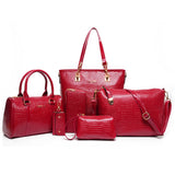 Mamir's Express - Crocodile  Pattern Handbag PU Leather Bag Six Pieces Set
