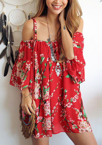 Floral Sexy Batwing Off Shoulder Party Beach Chiffon Casual Mini Dress