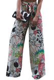Mamir's Express - Graphic Print Palazzo Pants Trousers With Sash For Women