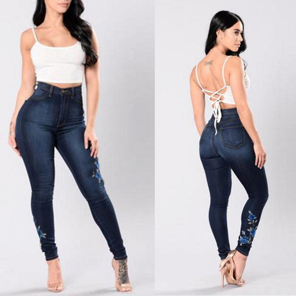 Mamir's Express - Denim Jeans Embroidered Skinny