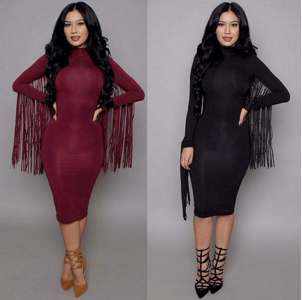Sexy Club Dress Long Sleeve Tassel Bodycon Dress For Women
