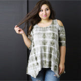 Mamir's Express - Cotton Blend Blouse for Plus Size Women Loose Prints Shirt Tops