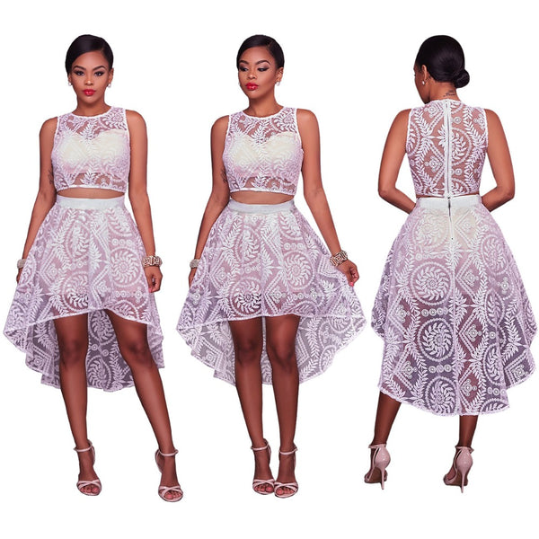 Mamir's Express - Crop Tops and Skirt Two Pieces Sets White Lace
