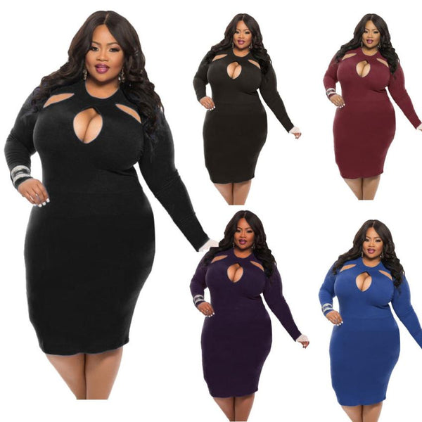 Long Sleeve O Neck Plus Size Hollow Dress