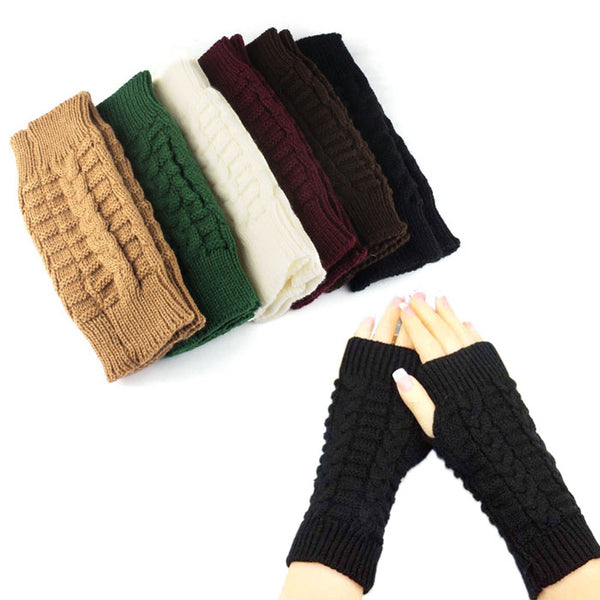 Knitted Arm Finger-less Winter Gloves Unisex Soft Warm Mitten