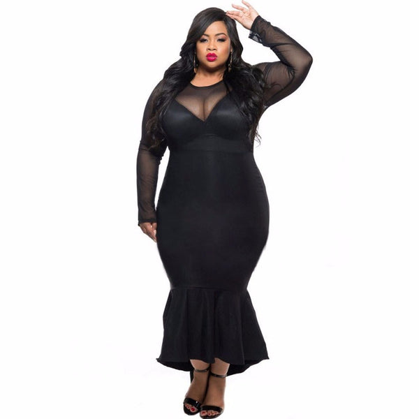 Mermaid Evening Long Party Dress Mesh Long Sleeve Sexy Plus Size Dress