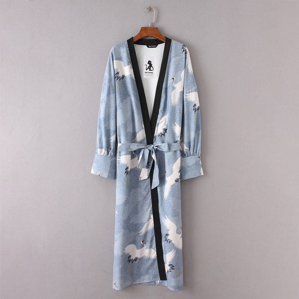 Mamir's Express - Floral Kimono Long Shirt With Belt For Women