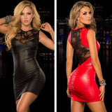 Mamir's Express - Ladies Faux Leather Mini Dress Women Sexy Lace Slim Fitted Lingerie