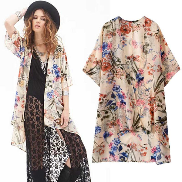 Women Vintage Long Print Kimono Side Slit V-Neck Long Sleeve