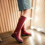 Round toe Knee-high PU Leather Boots For Ladies