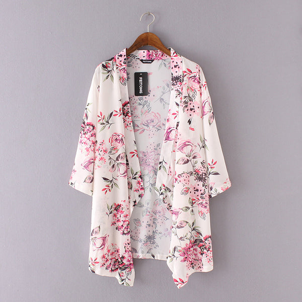 Women Kimono Cardigan Flower Print Shirts Blouse Stitch Long Jackets