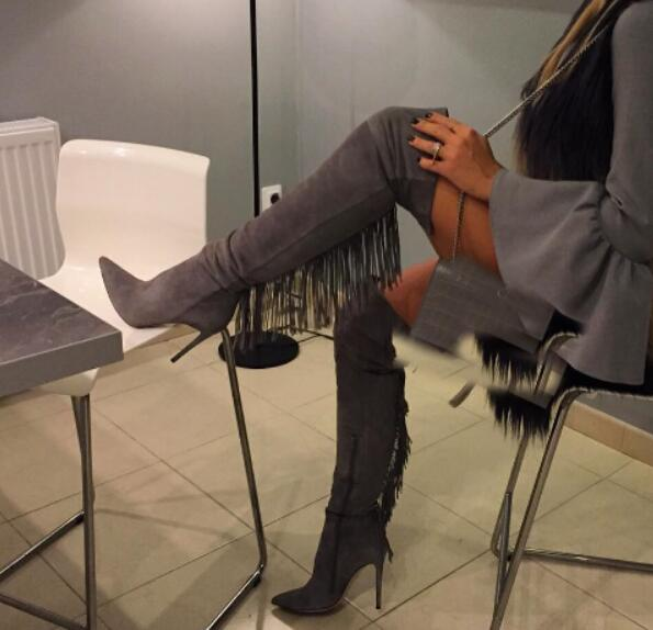 Mamir's Express - Grey Pointed Toe Over The Knee High Boots