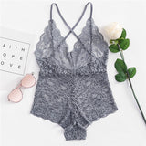 Scallop Trim Embroidered Flower Lace Teddy Bodysuit