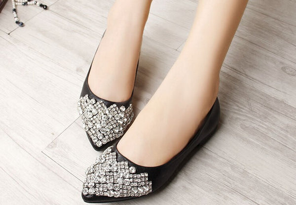 Mamir's Express - Flats Shoes For Women Ballet Princess Crystal Rhinestone Women Flats